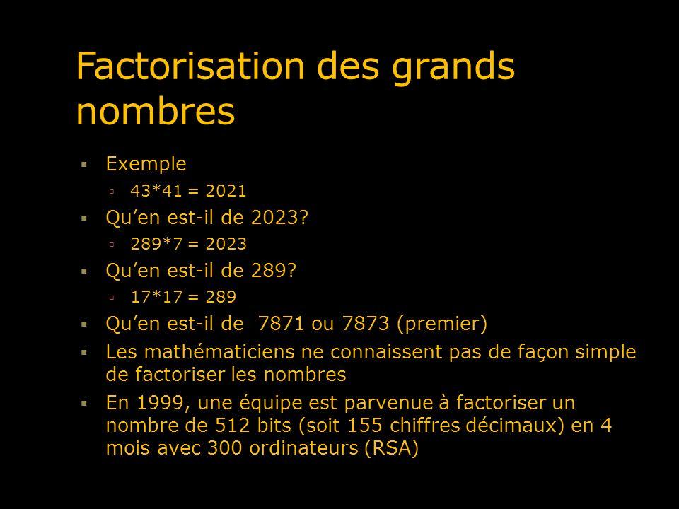 Factorisation des grands nombres Exemple 43*41 = 2021 Quen est-il de 2023? 289*7 = 2023 Quen est-il de 289? 17*17 = 289 Quen est-il de 7871 ou 7873 (p
