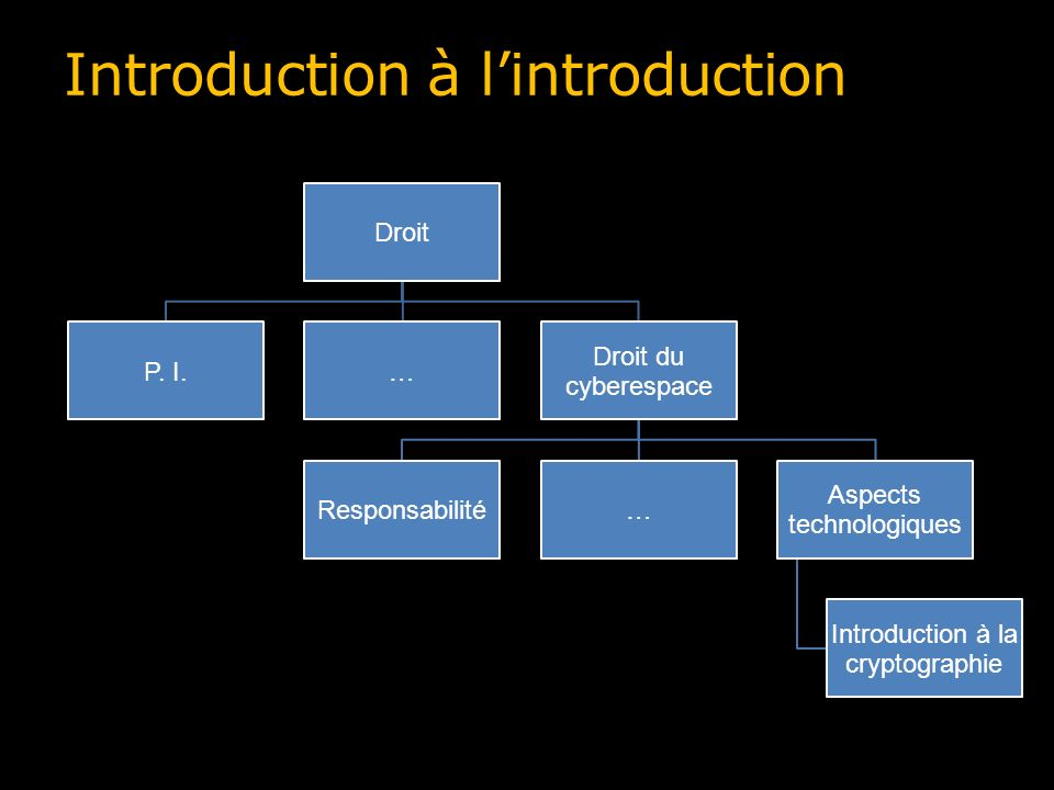 Introduction à lintroduction Droit P. I.… Droit du cyberespace Responsabilité… Aspects technologiques Introduction à la cryptographie
