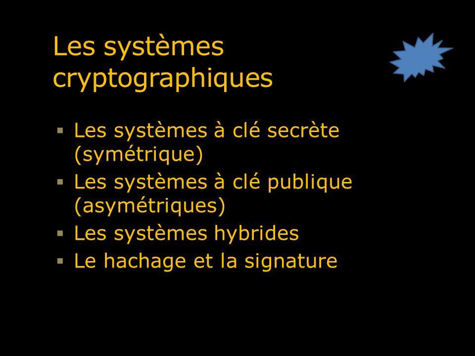 Les systèmes cryptographiques Les systèmes à clé secrète (symétrique) Les systèmes à clé publique (asymétriques) Les systèmes hybrides Le hachage et l