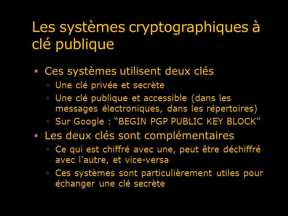 Les systèmes cryptographiques à clé publique Ces systèmes utilisent deux clés Une clé privée et secrète Une clé publique et accessible (dans les messa