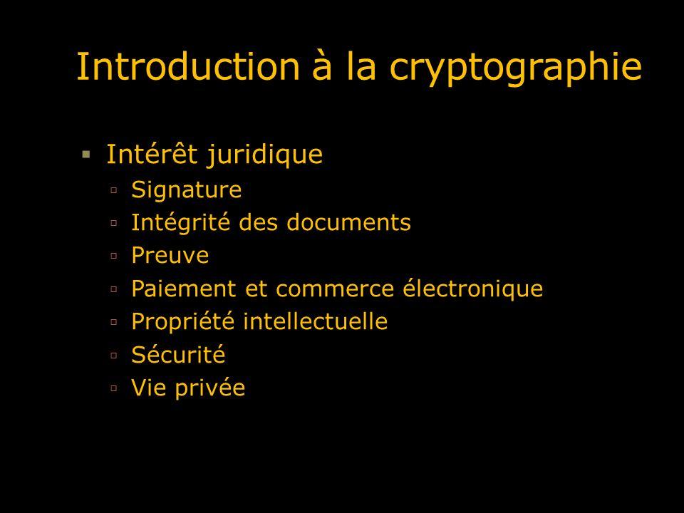 Intérêt juridique Signature Intégrité des documents Preuve Paiement et commerce électronique Propriété intellectuelle Sécurité Vie privée
