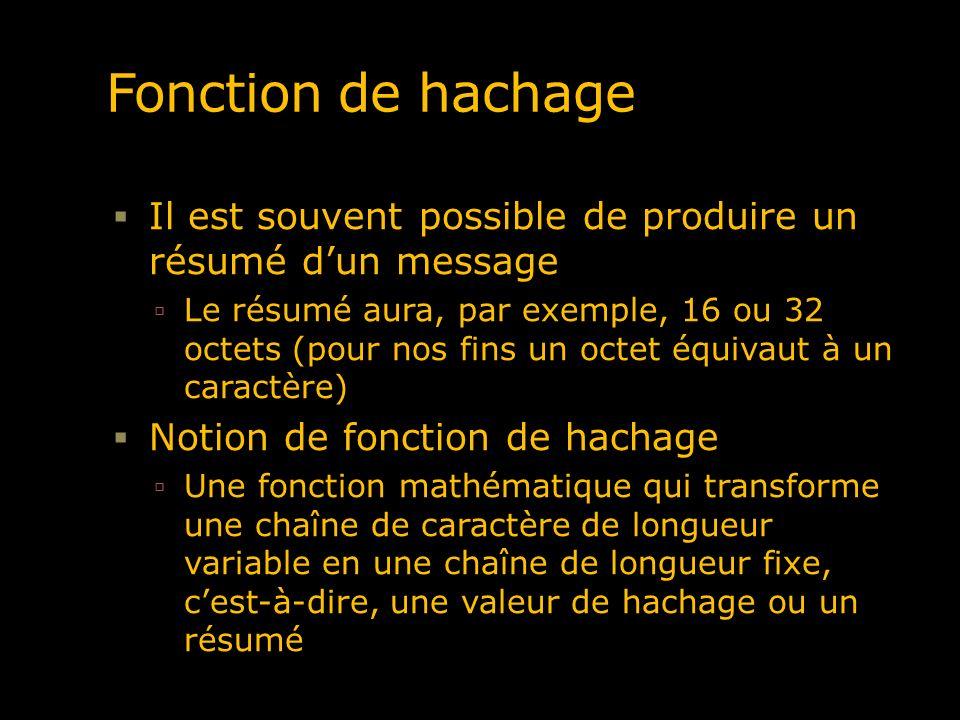 Fonction de hachage Il est souvent possible de produire un résumé dun message Le résumé aura, par exemple, 16 ou 32 octets (pour nos fins un octet équ