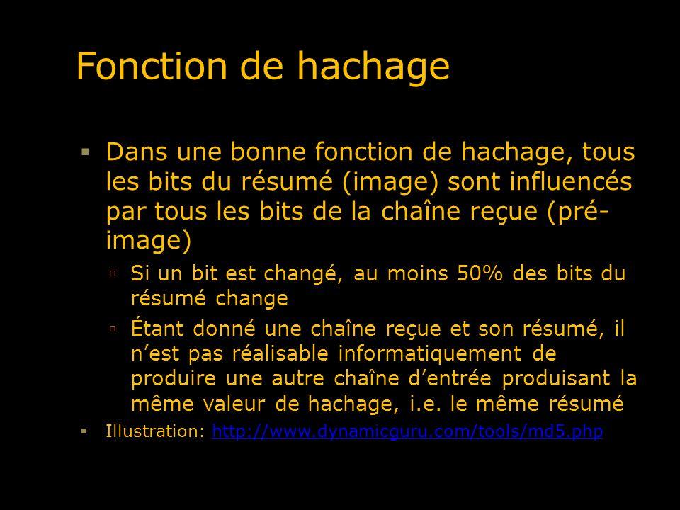 Fonction de hachage Dans une bonne fonction de hachage, tous les bits du résumé (image) sont influencés par tous les bits de la chaîne reçue (pré- ima