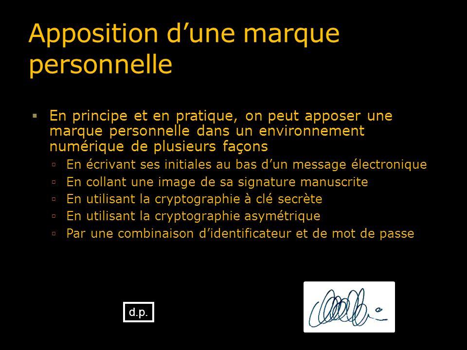 Apposition dune marque personnelle En principe et en pratique, on peut apposer une marque personnelle dans un environnement numérique de plusieurs faç