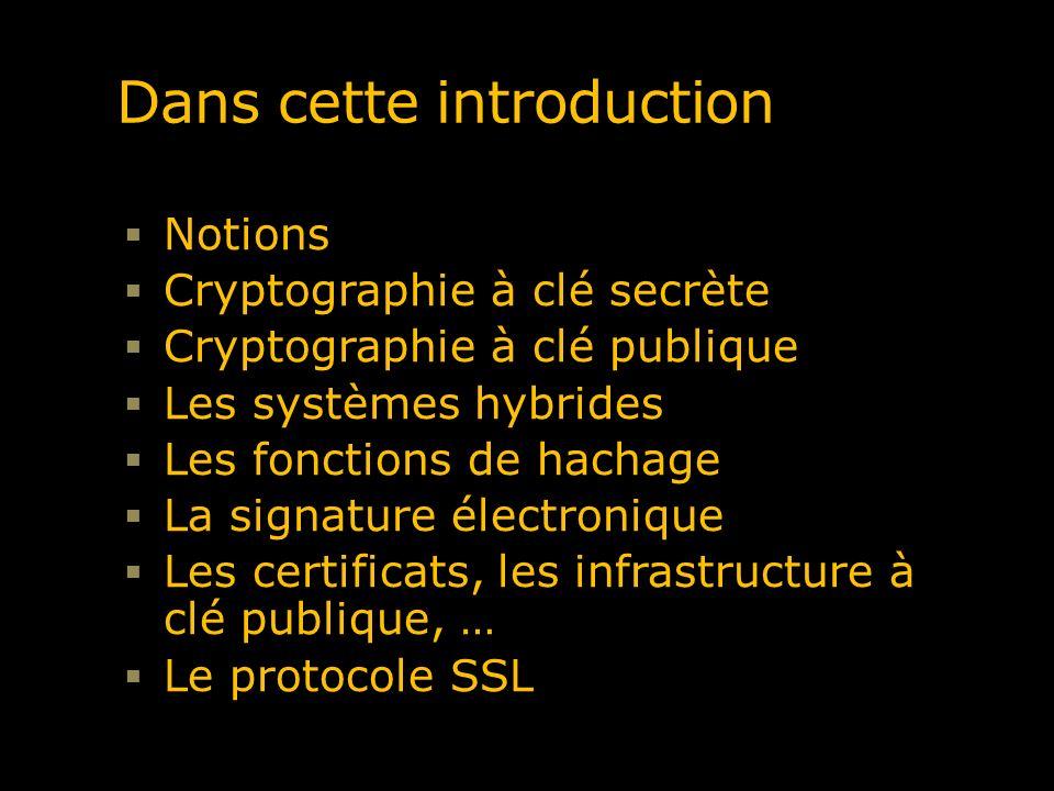 Dans cette introduction Notions Cryptographie à clé secrète Cryptographie à clé publique Les systèmes hybrides Les fonctions de hachage La signature é