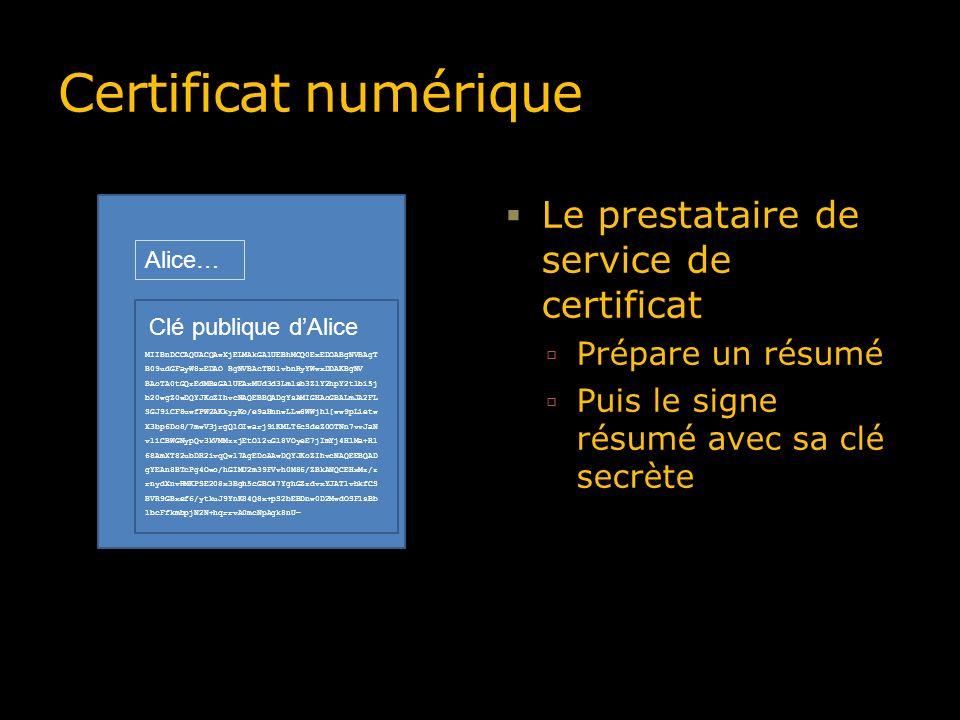 Certificat numérique Le prestataire de service de certificat Prépare un résumé Puis le signe résumé avec sa clé secrète Alice MIIBnDCCAQUACQAwXjELMAkG