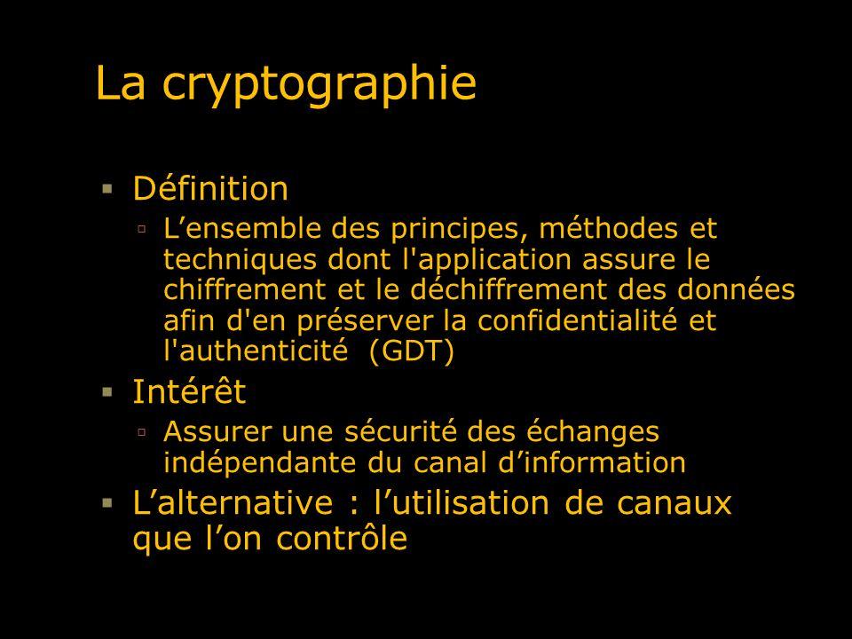 La cryptographie Définition Lensemble des principes, méthodes et techniques dont l'application assure le chiffrement et le déchiffrement des données a