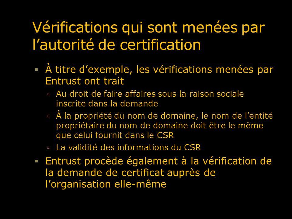 Vérifications qui sont menées par lautorité de certification À titre dexemple, les vérifications menées par Entrust ont trait Au droit de faire affair