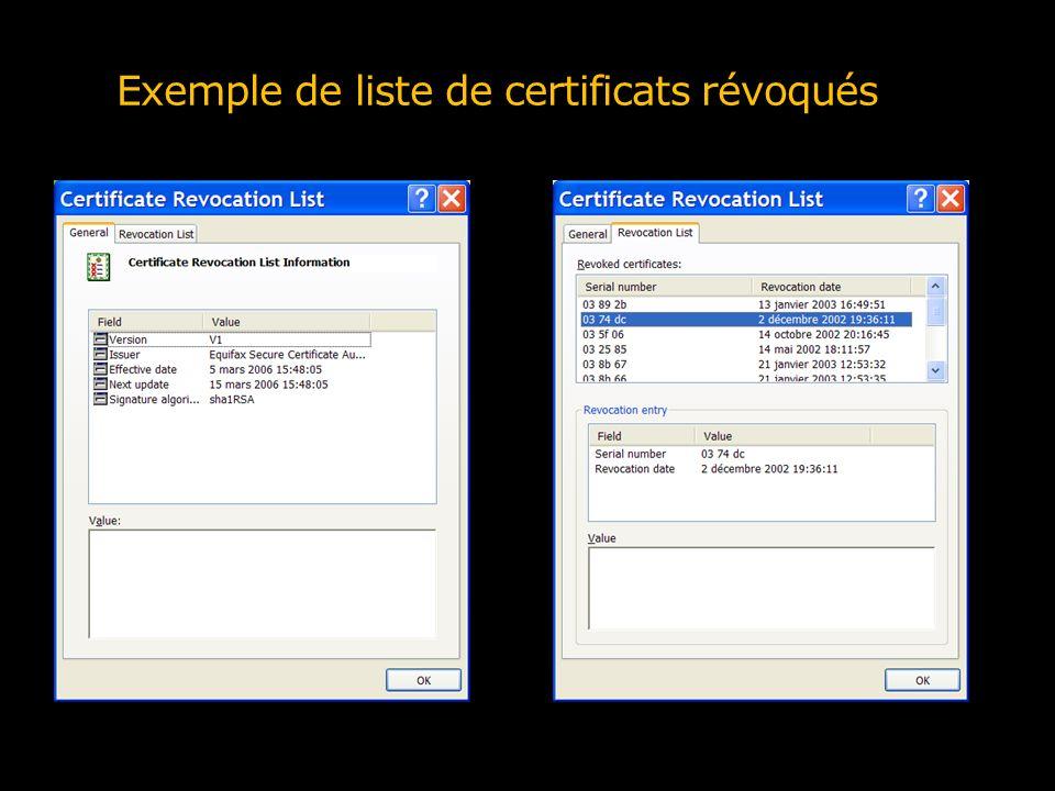 Exemple de liste de certificats révoqués