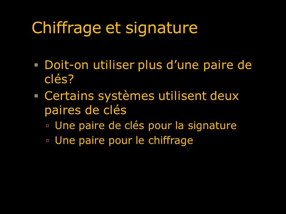 Chiffrage et signature Doit-on utiliser plus dune paire de clés? Certains systèmes utilisent deux paires de clés Une paire de clés pour la signature U