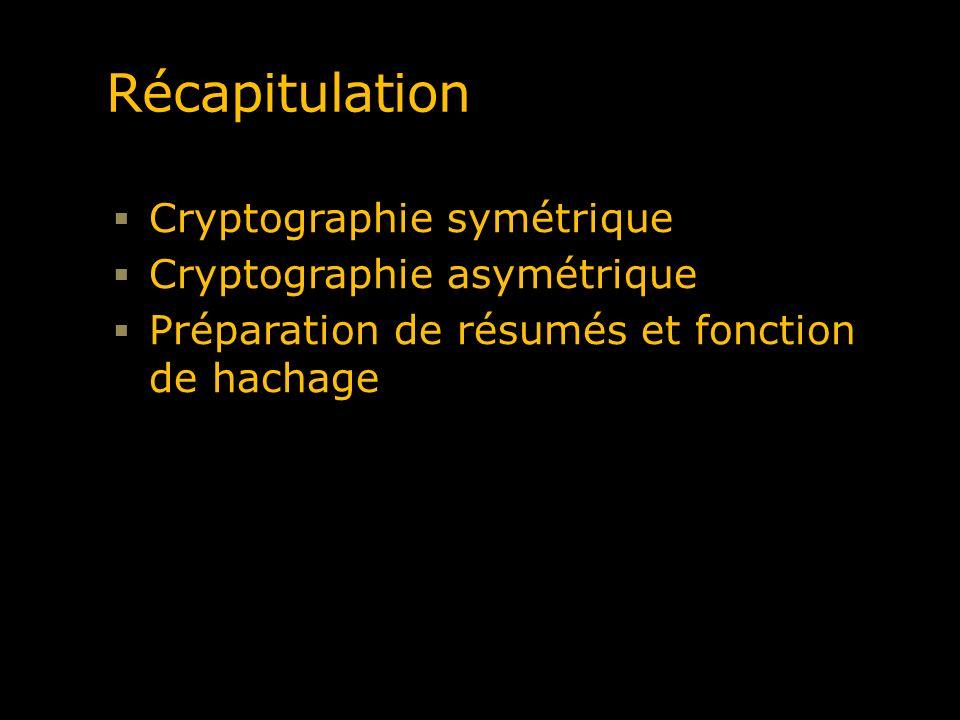 Récapitulation Cryptographie symétrique Cryptographie asymétrique Préparation de résumés et fonction de hachage