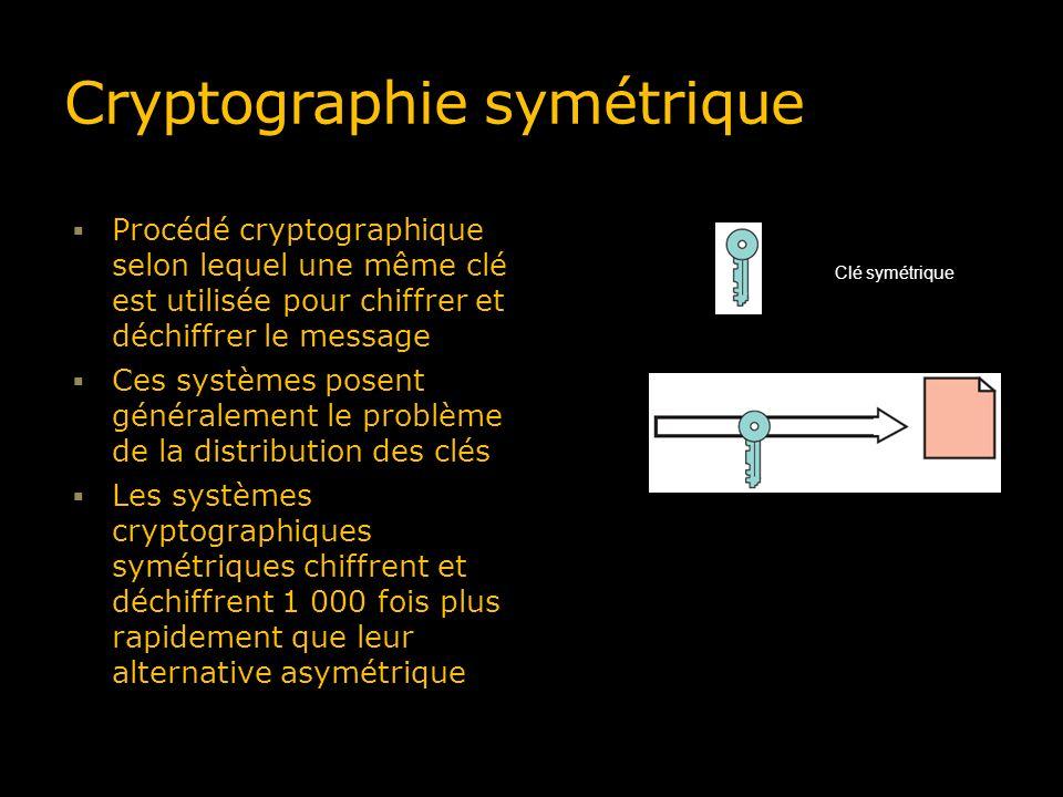 Cryptographie symétrique Procédé cryptographique selon lequel une même clé est utilisée pour chiffrer et déchiffrer le message Ces systèmes posent gén