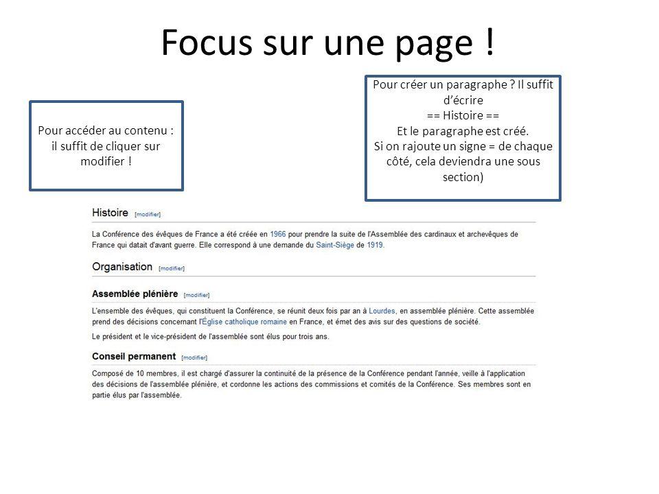 Focus sur une page . Pour créer un paragraphe .