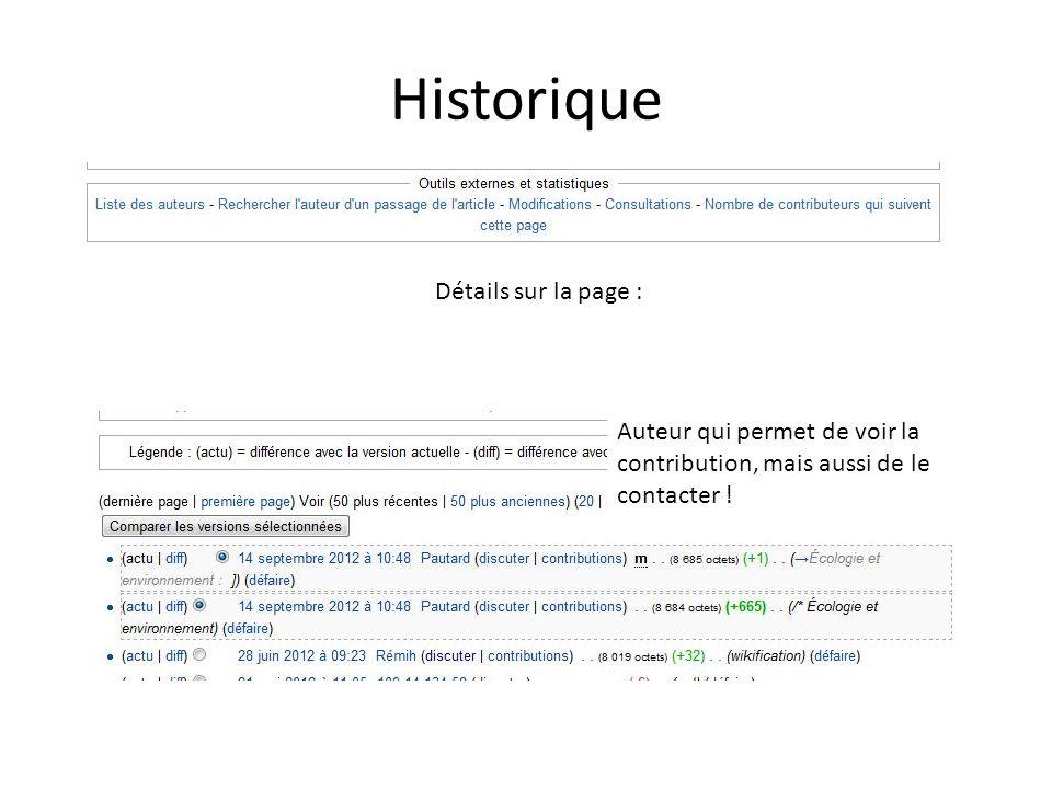 Historique Détails sur la page : Auteur qui permet de voir la contribution, mais aussi de le contacter !
