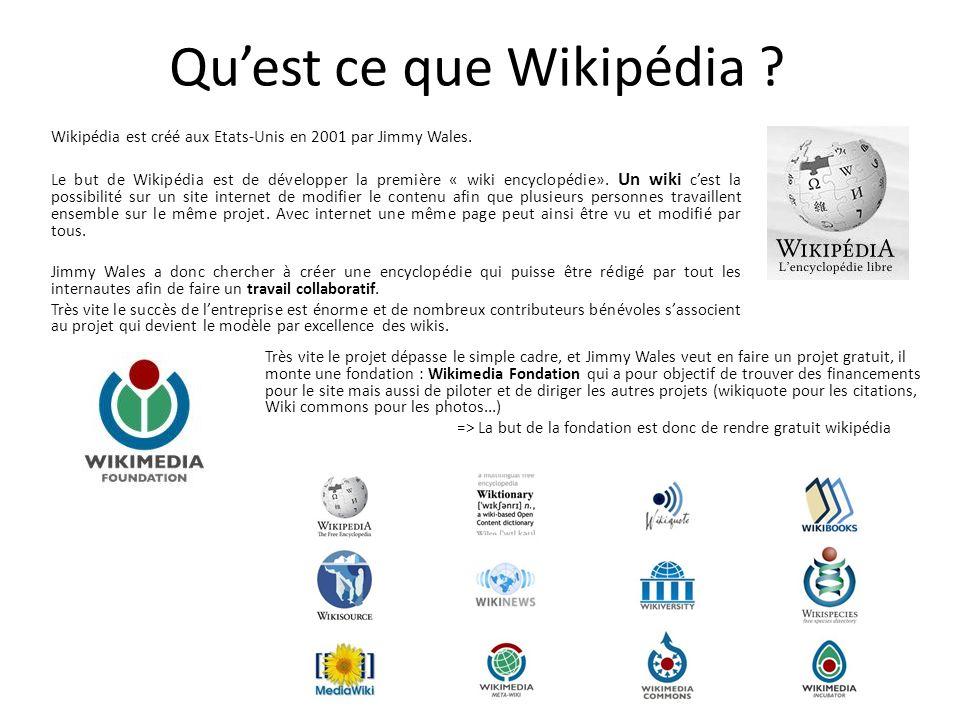Quest ce que Wikipédia . Wikipédia est créé aux Etats-Unis en 2001 par Jimmy Wales.