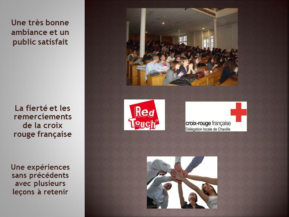 Une expériences sans précédents avec plusieurs leçons à retenir La fierté et les remerciements de la croix rouge française Une très bonne ambiance et un public satisfait
