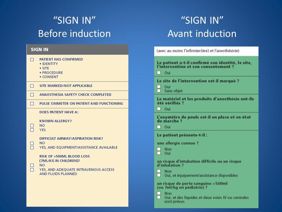 SIGN IN Before inductionSIGN IN Avant induction Le patient a-t-il confirmé son identité, le site, lintervention et son consentement .