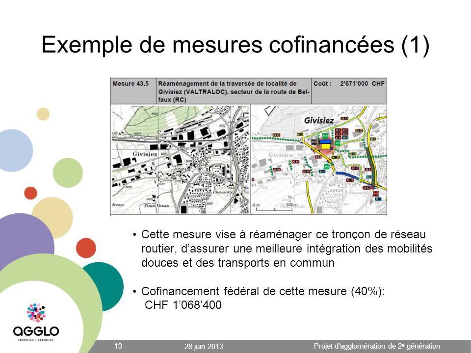Exemple de mesures cofinancées (1) Cette mesure vise à réaménager ce tronçon de réseau routier, dassurer une meilleure intégration des mobilités douces et des transports en commun Cofinancement fédéral de cette mesure (40%): CHF 1068400 28 juin 2013 13Projet dagglomération de 2 e génération