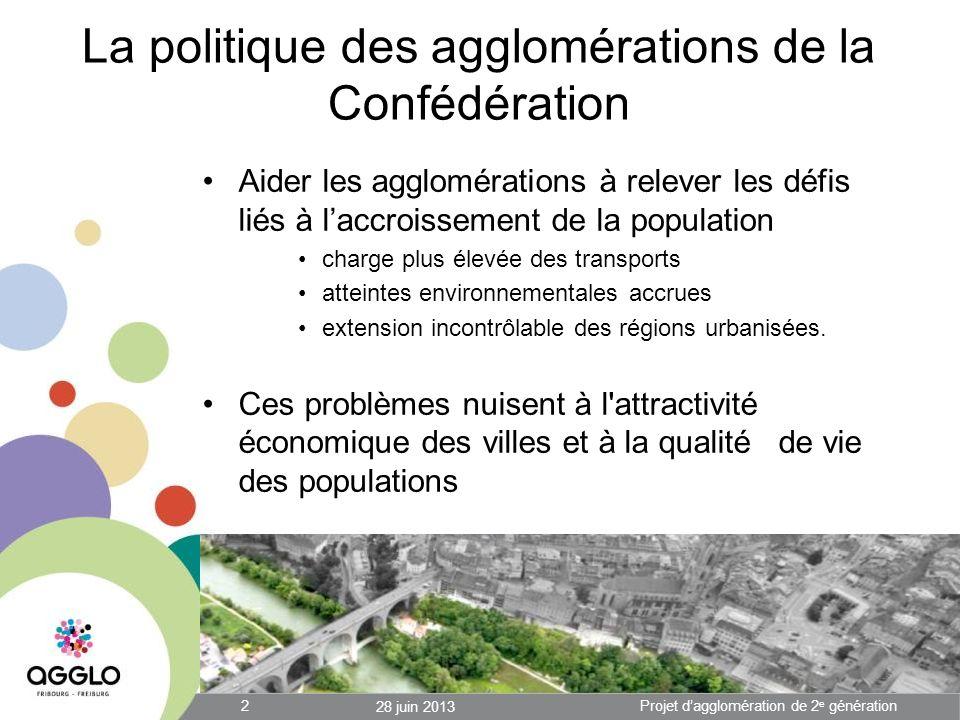 La politique des agglomérations de la Confédération Aider les agglomérations à relever les défis liés à laccroissement de la population charge plus élevée des transports atteintes environnementales accrues extension incontrôlable des régions urbanisées.