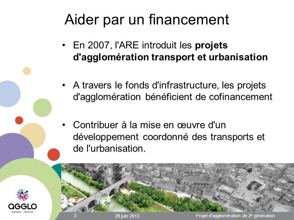 Aider par un financement En 2007, l ARE introduit les projets d agglomération transport et urbanisation A travers le fonds d infrastructure, les projets d agglomération bénéficient de cofinancement Contribuer à la mise en œuvre d un développement coordonné des transports et de l urbanisation.