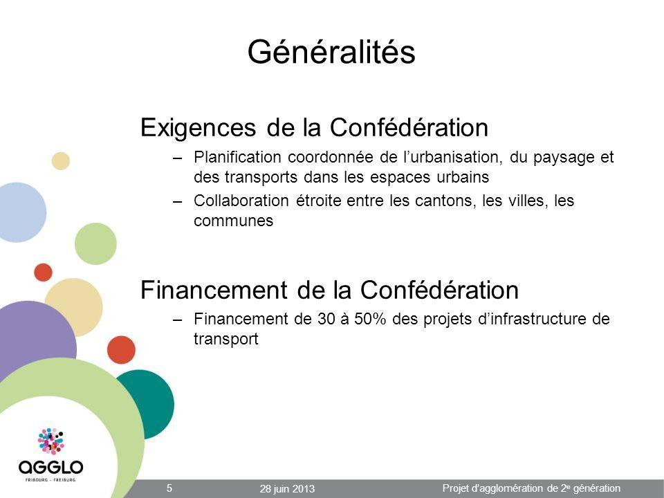 Financement par lAgglo: Directive de novembre 2012 1.L Agglomération est responsable de la mise en œuvre du PA2 (planification) 2.Les communes sont responsables de la mise en œuvre des mesures du PA2 (réalisation) 3.La participation de la Confédération est versée à l Agglomération 4.L Agglomération participe au financement de la part communale des mesures à hauteur de 50% 5.La subvention est calculée sur la base du coût réel de la mesure plafonné au montant figurant dans le PA2 28 juin 2013 16Projet dagglomération de 2 e génération