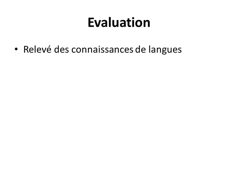 Evaluation Relevé des connaissances de langues
