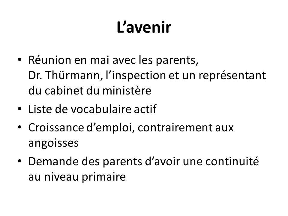 Lavenir Réunion en mai avec les parents, Dr. Thürmann, linspection et un représentant du cabinet du ministère Liste de vocabulaire actif Croissance de