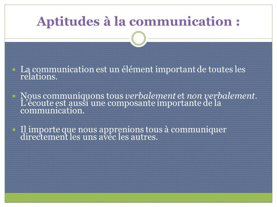 Aptitudes à la communication : La communication est un élément important de toutes les relations. Nous communiquons tous verbalement et non verbalemen