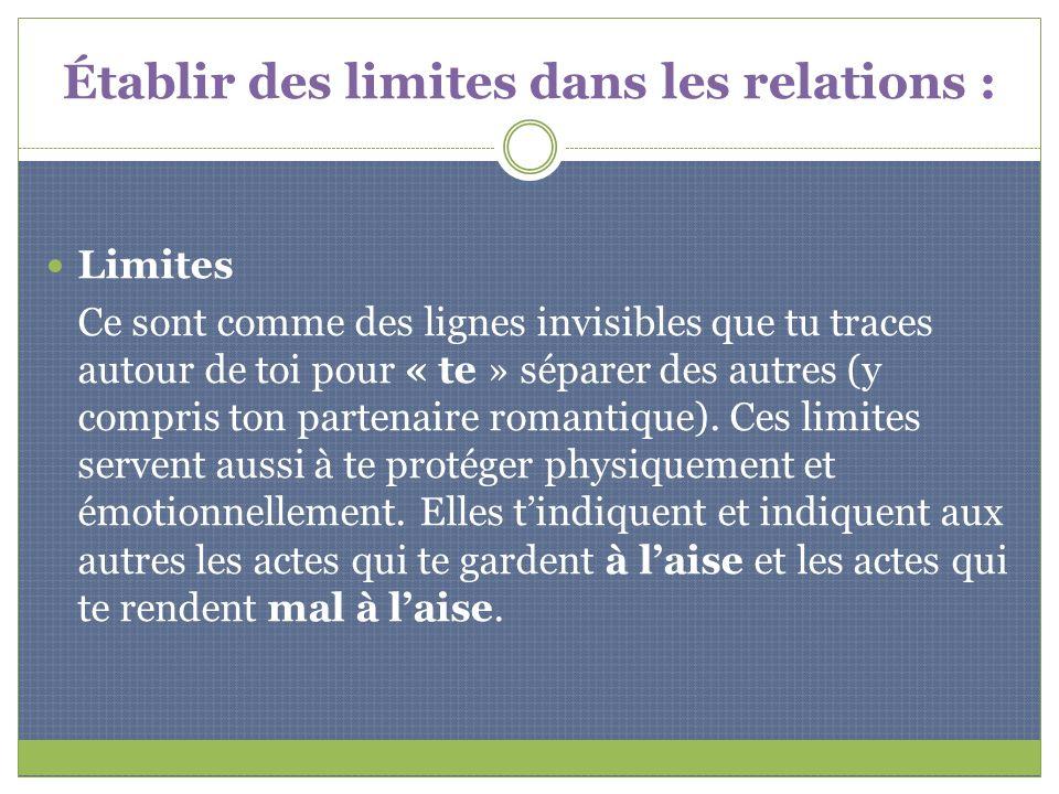 Établir des limites dans les relations : Limites Ce sont comme des lignes invisibles que tu traces autour de toi pour « te » séparer des autres (y com