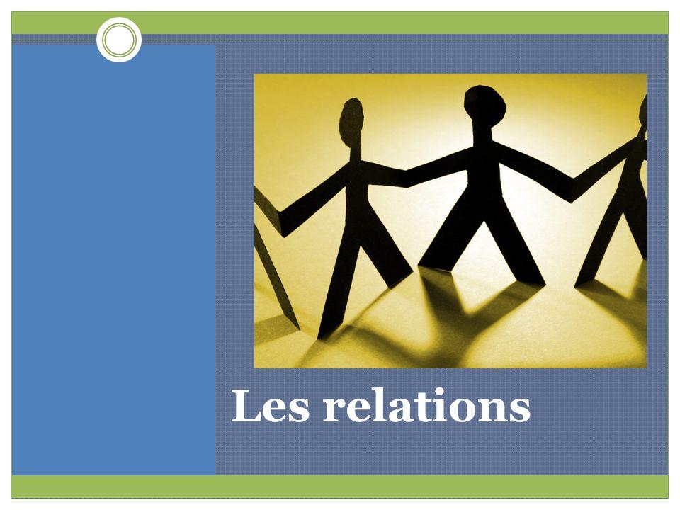 Définition de « relation » Une relation, cest simplement un lien entre deux personnes ou plus.