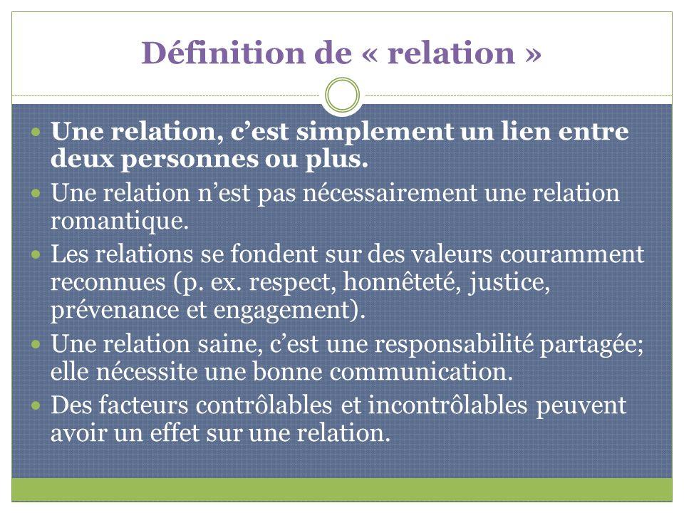 Définition de « relation » Une relation, cest simplement un lien entre deux personnes ou plus. Une relation nest pas nécessairement une relation roman