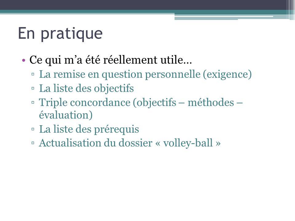 En pratique Ce qui ma été réellement utile… La remise en question personnelle (exigence) La liste des objectifs Triple concordance (objectifs – méthodes – évaluation) La liste des prérequis Actualisation du dossier « volley-ball »