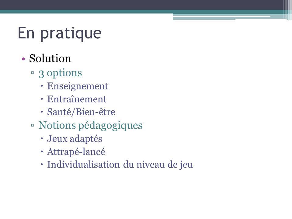 En pratique Solution 3 options Enseignement Entraînement Santé/Bien-être Notions pédagogiques Jeux adaptés Attrapé-lancé Individualisation du niveau de jeu