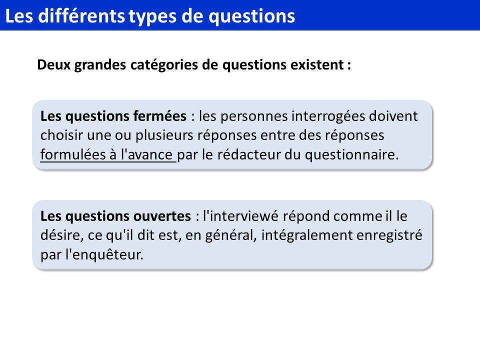 Deux grandes catégories de questions existent : Les différents types de questions Les questions fermées : les personnes interrogées doivent choisir une ou plusieurs réponses entre des réponses formulées à l avance par le rédacteur du questionnaire.