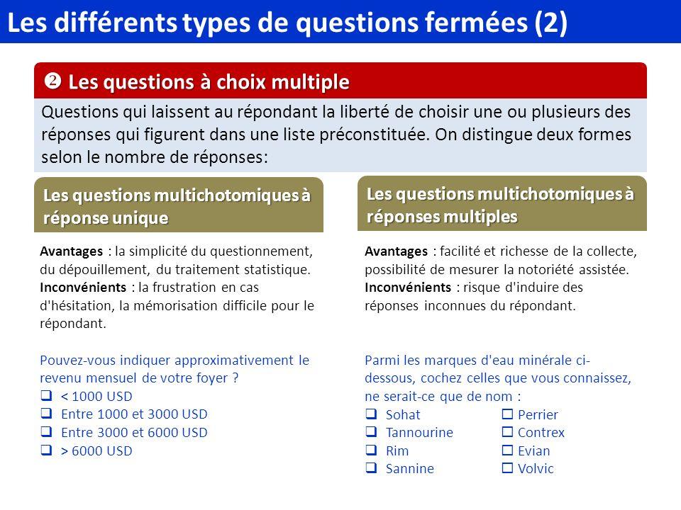 Les différents types de questions fermées (2) Questions qui laissent au répondant la liberté de choisir une ou plusieurs des réponses qui figurent dans une liste préconstituée.