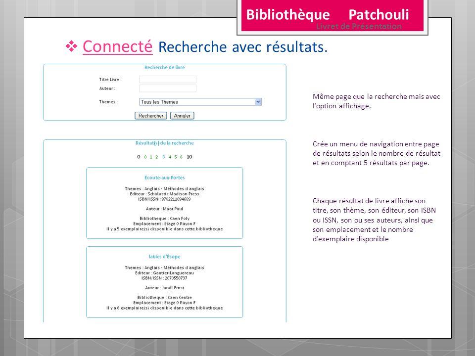 Connecté Recherche avec résultats. Même page que la recherche mais avec loption affichage. Crée un menu de navigation entre page de résultats selon le