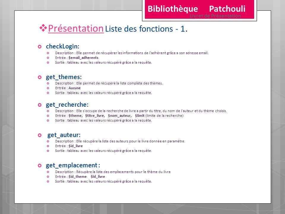 Présentation Liste des fonctions - 1. checkLogin: Description : Elle permet de récupérer les informations de l'adhérent grâce a son adresse email. Ent