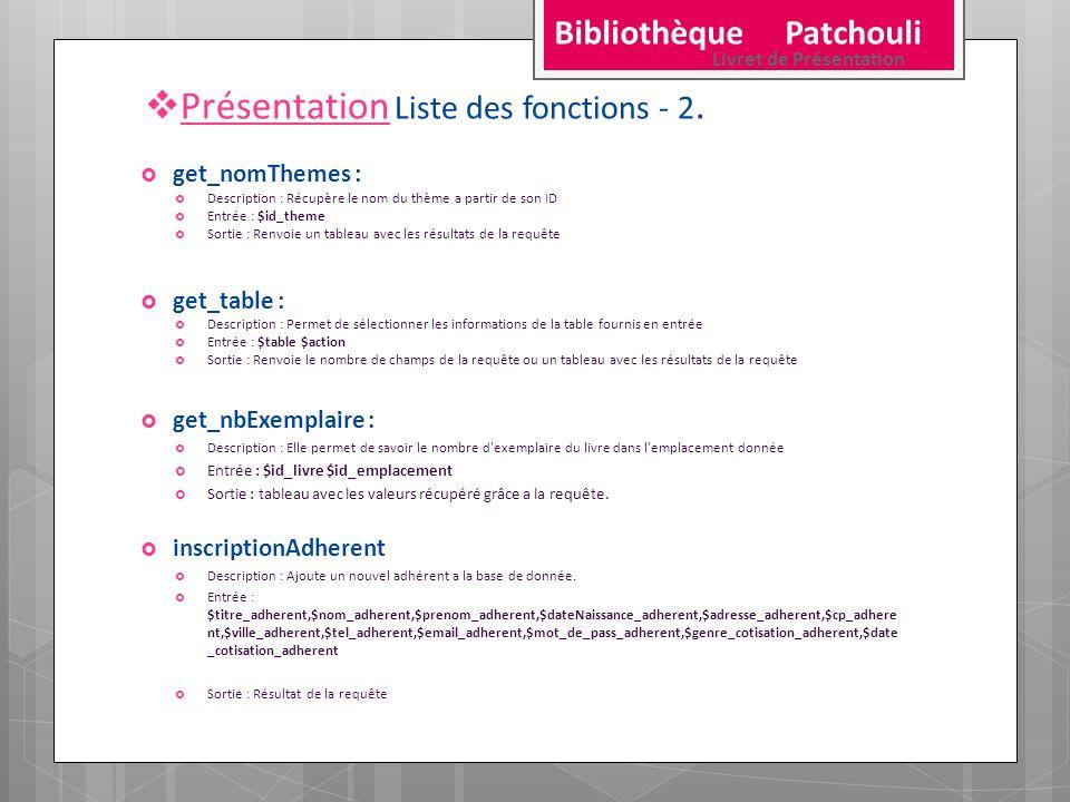 Présentation Liste des fonctions - 2. get_nomThemes : Description : Récupère le nom du thème a partir de son ID Entrée : $id_theme Sortie : Renvoie un