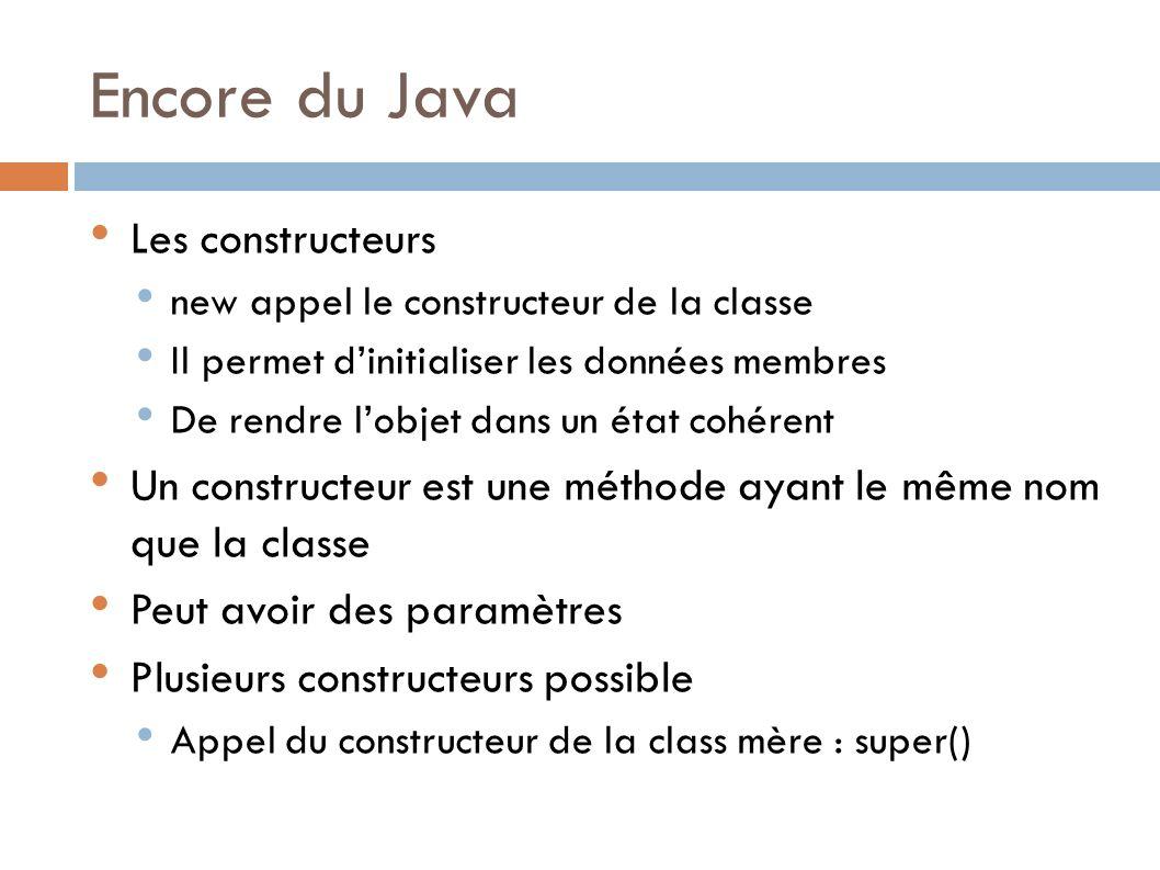 Encore du Java Les constructeurs new appel le constructeur de la classe Il permet dinitialiser les données membres De rendre lobjet dans un état cohérent Un constructeur est une méthode ayant le même nom que la classe Peut avoir des paramètres Plusieurs constructeurs possible Appel du constructeur de la class mère : super()