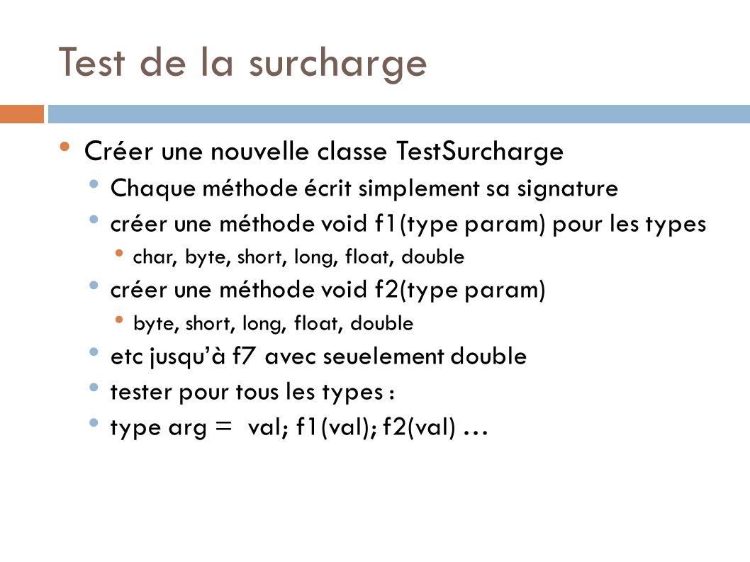 Test de la surcharge Créer une nouvelle classe TestSurcharge Chaque méthode écrit simplement sa signature créer une méthode void f1(type param) pour les types char, byte, short, long, float, double créer une méthode void f2(type param) byte, short, long, float, double etc jusquà f7 avec seuelement double tester pour tous les types : type arg = val; f1(val); f2(val) …