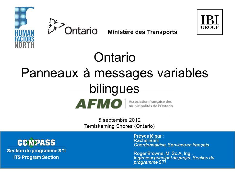 ESSAIS USUELS Panneaux à messages variables bilingues - Ontario