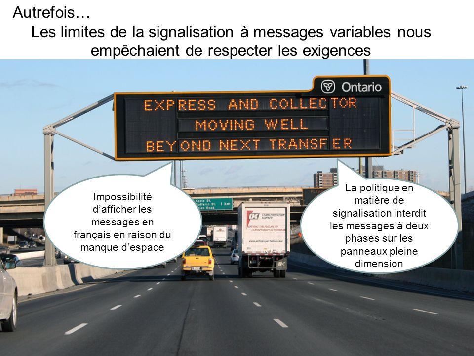 Police de caractères et tests de lisibilité Bien que la nouvelle bibliothèque de messages se compose surtout de symboles graphiques, il faut parfois y ajouter un texte anglais et français pour renforcer la compréhension du message.