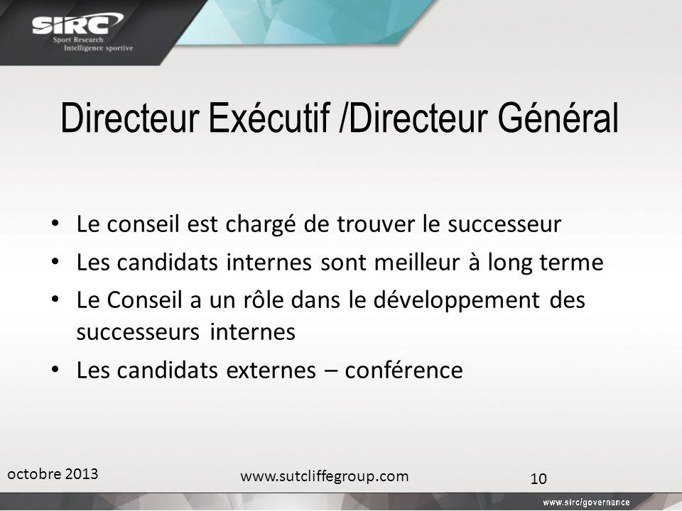 Directeur Exécutif /Directeur Général Le conseil est chargé de trouver le successeur Les candidats internes sont meilleur à long terme Le Conseil a un