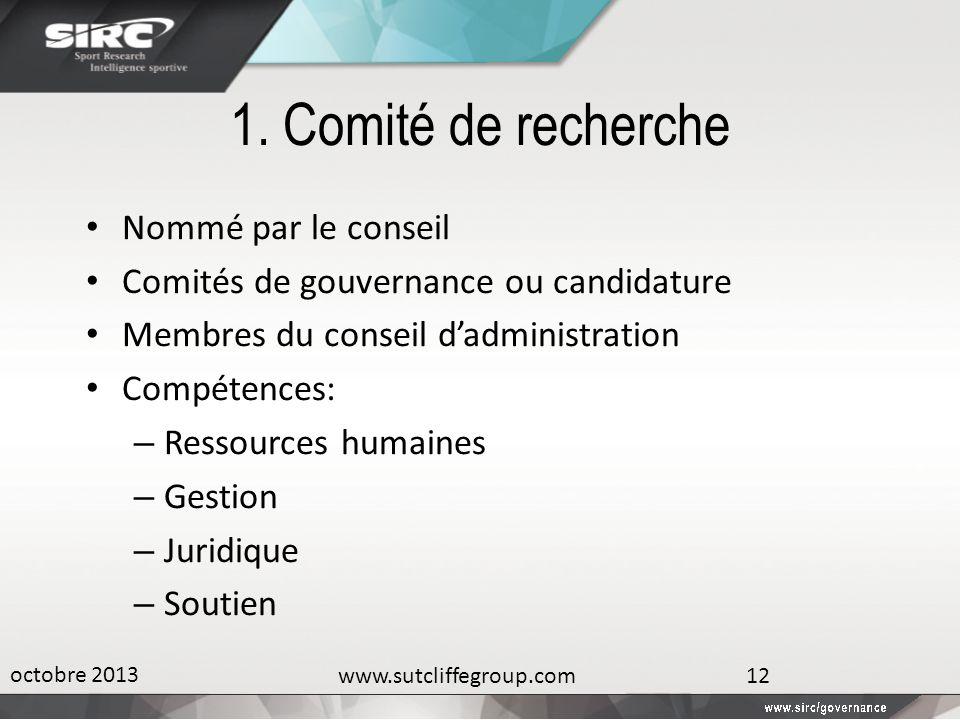 1. Comité de recherche Nommé par le conseil Comités de gouvernance ou candidature Membres du conseil dadministration Compétences: – Ressources humaine