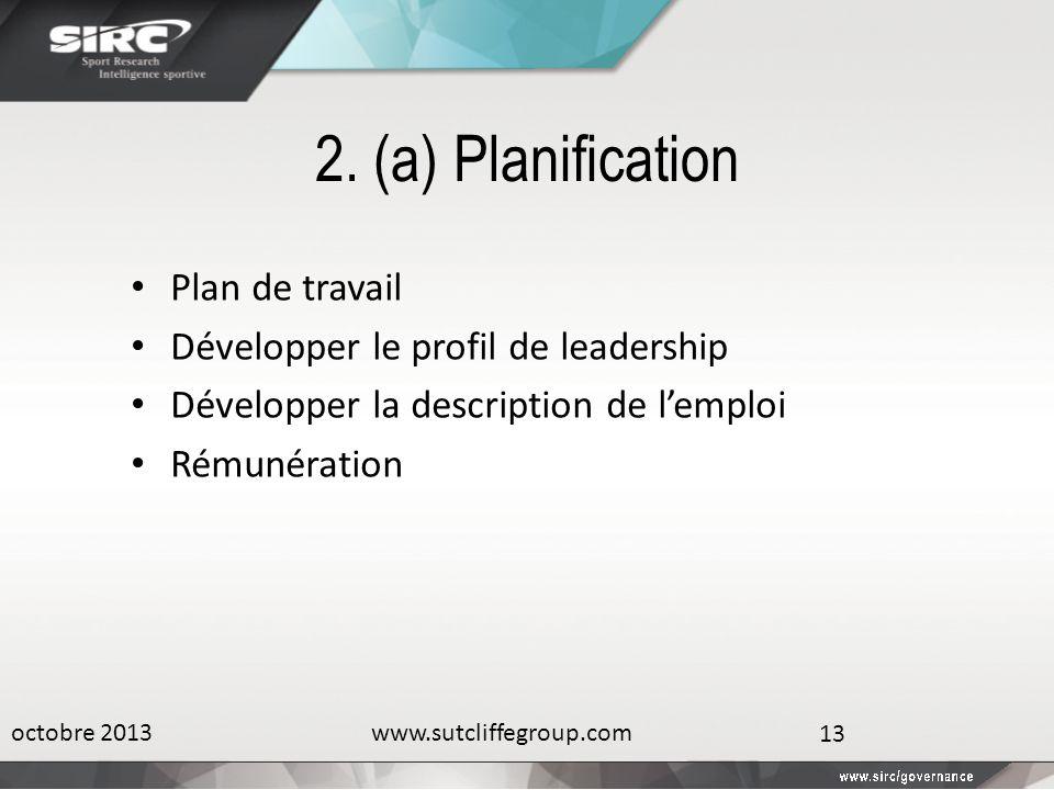 2. (a) Planification Plan de travail Développer le profil de leadership Développer la description de lemploi Rémunération octobre 2013www.sutcliffegro