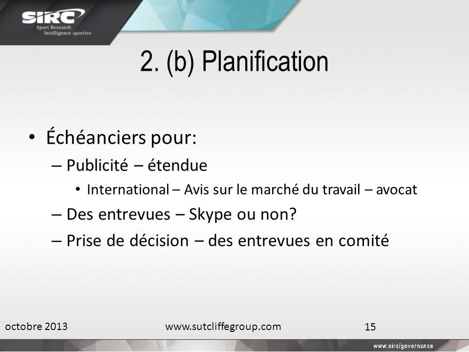 2. (b) Planification Échéanciers pour: – Publicité – étendue International – Avis sur le marché du travail – avocat – Des entrevues – Skype ou non? –