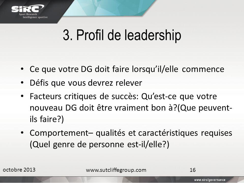 3. Profil de leadership Ce que votre DG doit faire lorsquil/elle commence Défis que vous devrez relever Facteurs critiques de succès: Quest-ce que vot