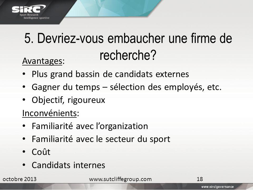 5. Devriez-vous embaucher une firme de recherche? Avantages: Plus grand bassin de candidats externes Gagner du temps – sélection des employés, etc. Ob