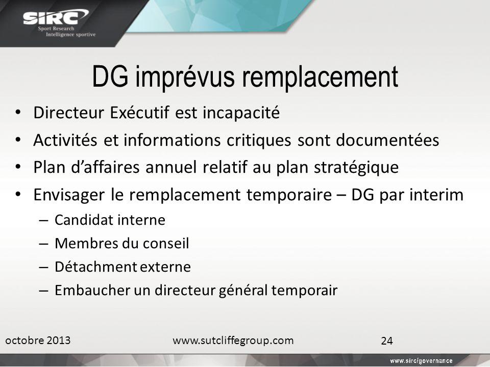 DG imprévus remplacement Directeur Exécutif est incapacité Activités et informations critiques sont documentées Plan daffaires annuel relatif au plan