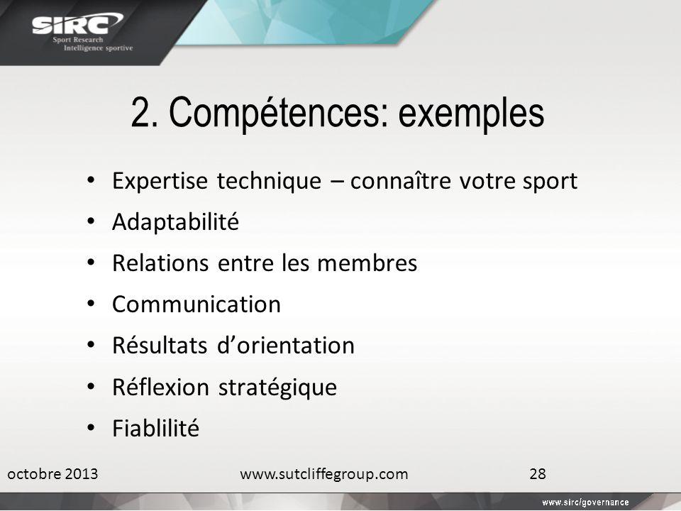 2. Compétences: exemples Expertise technique – connaître votre sport Adaptabilité Relations entre les membres Communication Résultats dorientation Réf